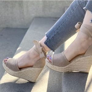 NATALIE Lace up Wedge - TAN